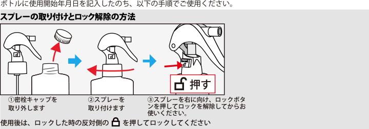 スプレーの取り付けとロック解除の方法